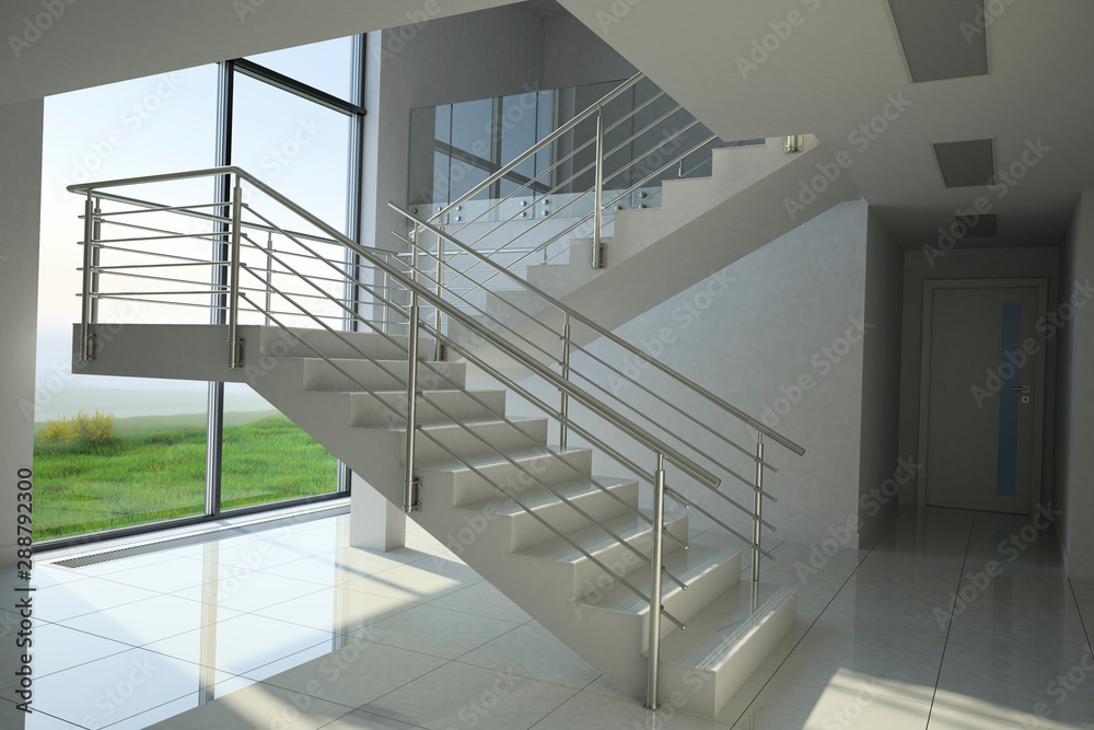 Fototapety, obrazy: Staircase in modern building, 3D illustration