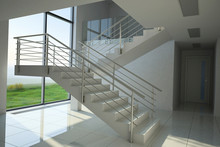Staircase In Modern Building, 3D Illustration