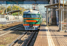 Retro Passenger Train Moves From Mytischi To Moscow. This Type Of The Trains Was Made In Riga In 1964-1970 Yy.