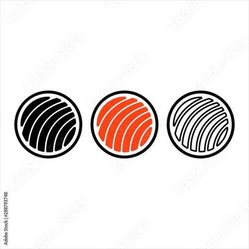 Türaufkleber Künstlich Sushi icon set with different style vector icon template