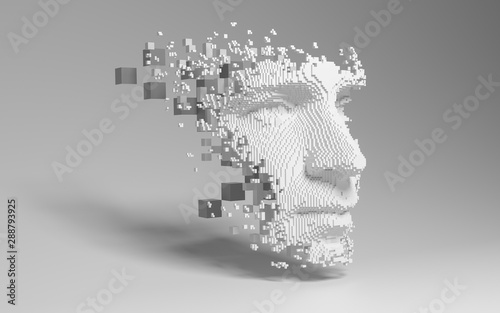 Fototapeta Abstract digital human face.  Artificial intelligence concept of big data or cyber security. 3D illustration  obraz
