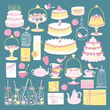 Birthday Party Kids Set. Tea, Different Cakes And Gifts. Vecton Illustration In Simple Cartoon Hand-drawn Scandinavian Style. Vintage Pastel Colors. Cute Girl Card