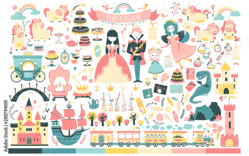 princess-set-fairy-kingdom-prince-fairy-unicorn-dragon-castles-carriage-and-much-more-vector-illustration-in-cartoon-scandinavian-style-perfect-for-invitations-cards-textile-prints