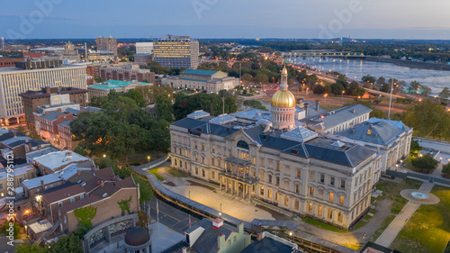 Waterfront Section Trenton New Jersey Delaware River and Capital Statehouse #288795112