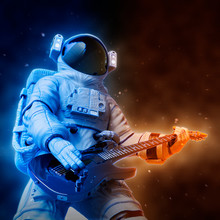 Astronaut Playing Guitar Close Uo Style