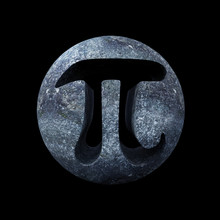 Pi Symbol, Mathematical Carved In Stone Constant Isolated On Black Background