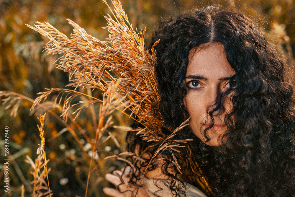 Fototapety, obrazy: close up portrait of beautiful young woman on a field at sunset