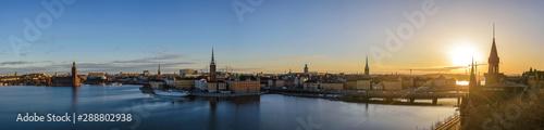 Foto auf AluDibond Stockholm Stockholm Sweden, panorama sunrise city skyline at Gamla Stan and Slussen