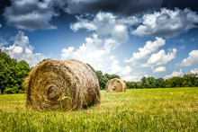 Hay On The Field With Blue Sky And Clouds