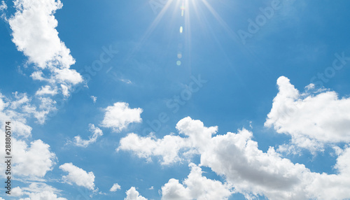 Cuadros en Lienzo clear blue sky with white cloud background