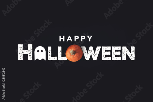 Photo  Happy Halloween Distressed Text with Pumpkin and Ghost Over Black Background
