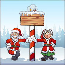 Santa Claus And Mrs. Santa At North Pole With Wooden Sign Clip Art. Vector Illustration With Simple Gradients. Some Elements On Separate Layers.