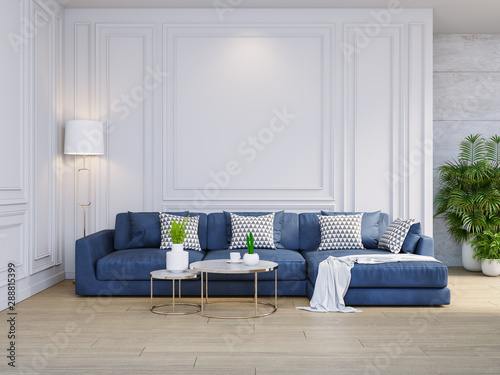 Modern classic interior of living room,blue sofa with gold lamp on wood flooring and white wall ,3d rendering