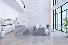 Modren Living Room And Kitchen Room  Interior With Sea View ,luxury Home,villa ,3d Render