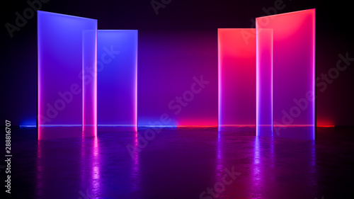 Obraz Modern Futuristic neon light  ,with blackground,and concrete floor,ultraviolet  concept,3d render - fototapety do salonu