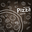 Pizza food menu for restaurant and cafe. Design in doodle style template flyer baner