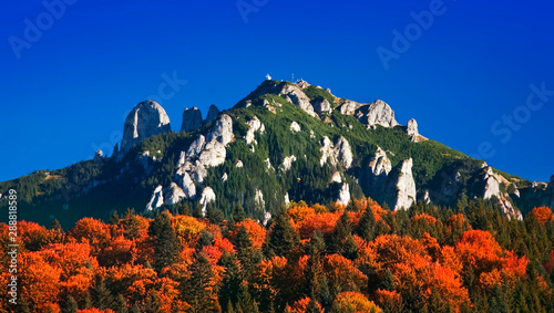 Canvas Prints Dark blue autumn forest and mountain landscape of Ceahlau, Romania
