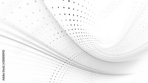 Abstract wave Abstract background element. Fractal graphics series. Three-dimensional composition of dynamic curves and mosaic halftone effects. Wide format high resolution image. 3d illustration.