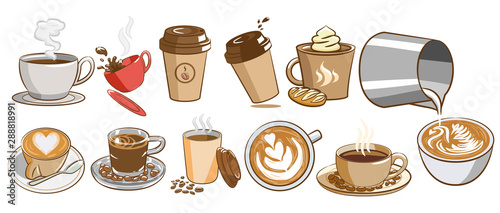 Fotografia coffee vector set clipart design