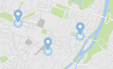 City map with some location tags
