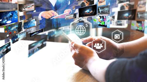 Cuadros en Lienzo  Social network concept.globalization business.