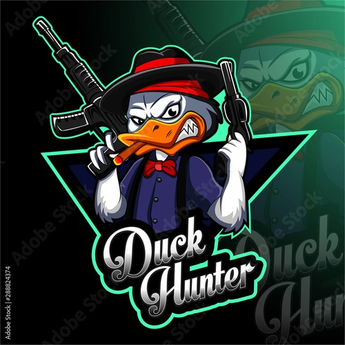 Fotografie, Tablou Duck hunter esport mascot logo design