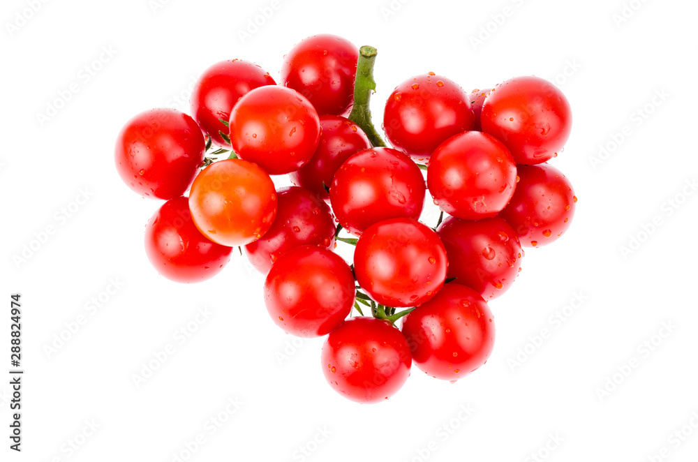 Fototapety, obrazy: Bunch of ripe red cherry tomatoes isolated on white background.