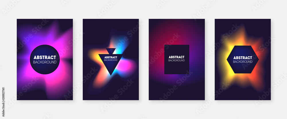 Fototapeta Abstract splash color gradient covers set.