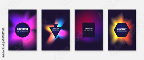 Photo  Abstract splash color gradient covers set.