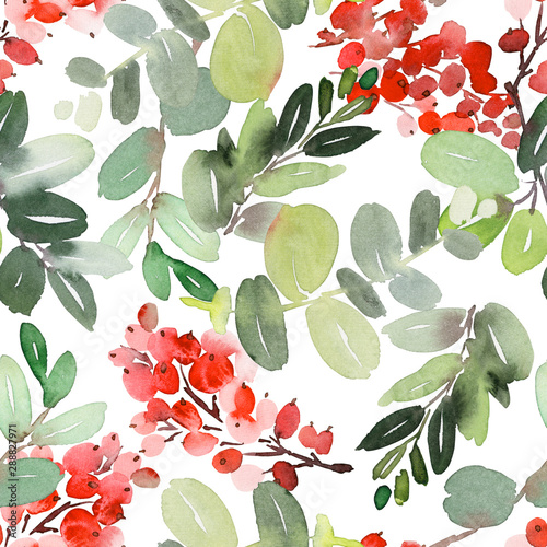 Fototapety, obrazy: Seamless watercolor Christmas pattern with berries and spruce
