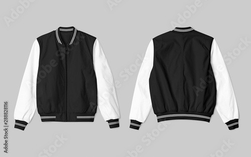 Photo Set of jacket bomber black white color in front and back view, isolated on background
