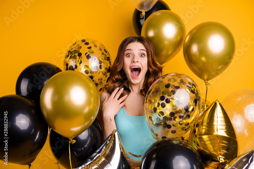 Photo of overjoyed lady yelling gladly surrounded by many balloons wear tank-top Canvas Print