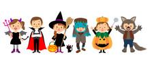 ハロウィンの仮装をする子供たち
