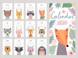 Fototapeta Fototapety na ścianę do pokoju dziecięcego - animals calendar 2020