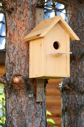 Canvas-taulu light wooden birdhouse hanging on a tree with circle entrance