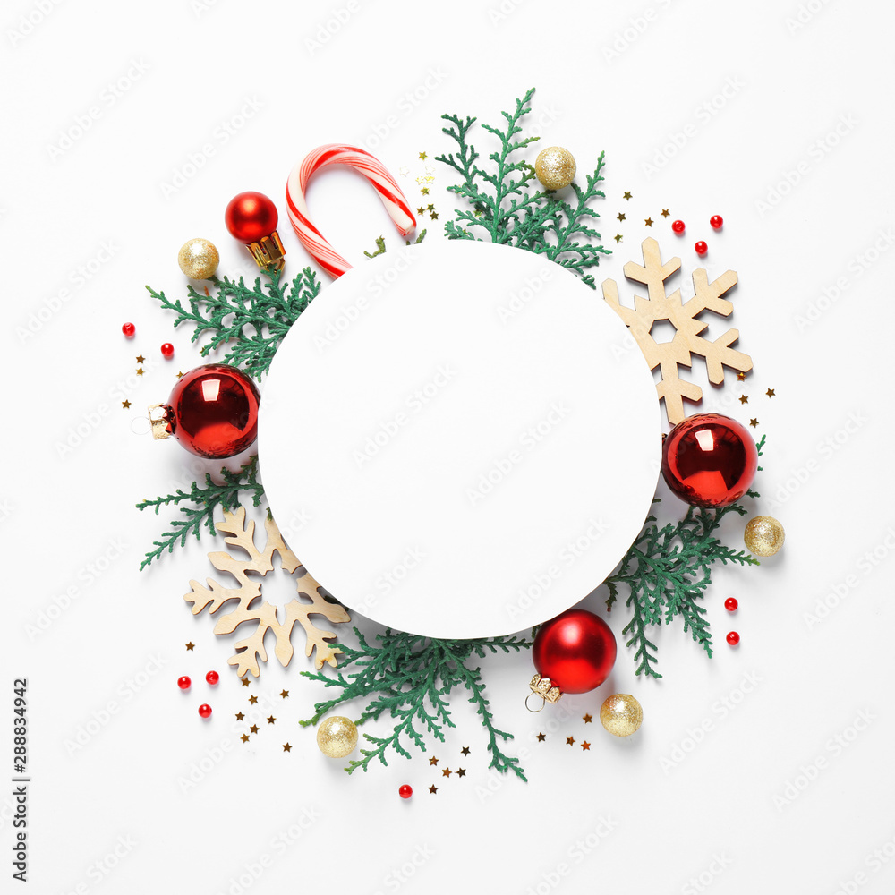 Fototapety, obrazy: Flat lay composition with Christmas decor and blank card on white background. Space for text
