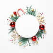Leinwandbild Motiv Flat lay composition with Christmas decor and blank card on white background. Space for text