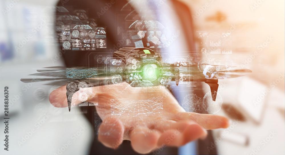 Fototapety, obrazy: Businessman using modern drone 3D rendering