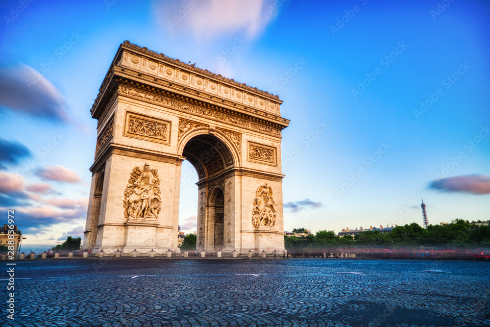 Fototapety, obrazy: Arc de triomphe at Sunset, Paris