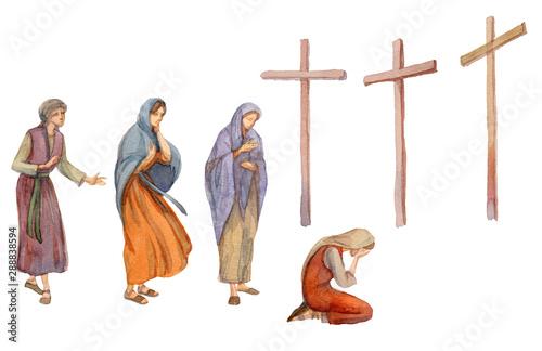 Stampa su Tela Three crosses stand on  light sky backdrop