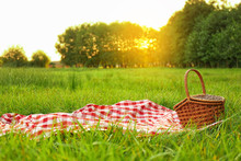 Picnic Blanket And Basket On Grass In Park