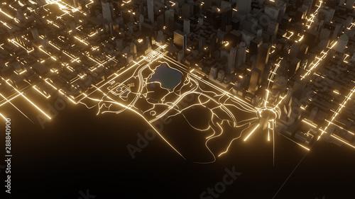 Fotomural  Modern city traffic road at night