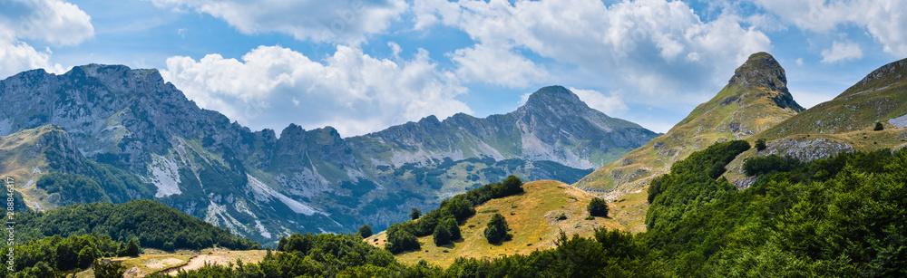 Fototapety, obrazy: Summer mountain Durmitor National Park, Montenegro. Durmitor panoramic road, Sedlo pass.