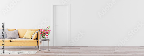 Obraz na plátně  Living room interior wall mock up with pastel yellow sofa, empty white wall with