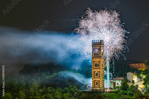 Foto auf Leinwand Grau Verkehrs Explosion of colors. Fireworks. Cassacco, Friuli. Italy