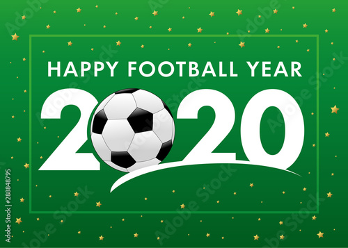 Christmas 2020 Football Happy Football Year 2020 text with soccer ball on green background