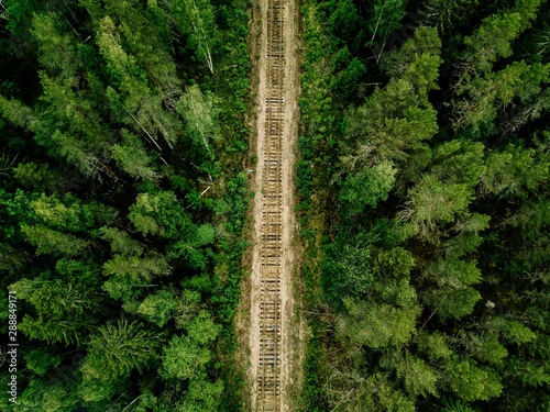 Fotomural Aerial view of railroad tracks with green forest and trees in rural Finland