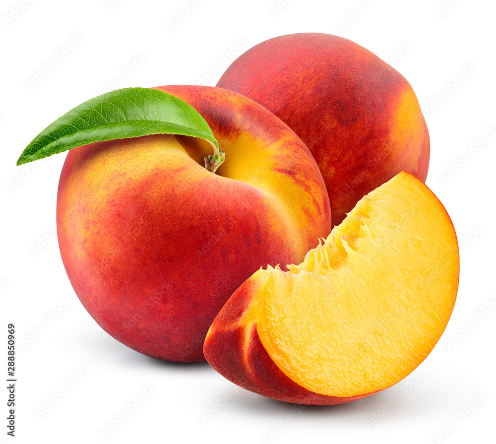 Fototapety, obrazy: Peach isolate. Peach with slice on white background. Full depth of field. With clipping path.