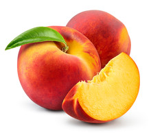 Peach Isolate. Peach With Slice On White Background. Full Depth Of Field. With Clipping Path.