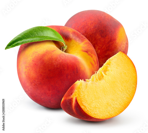 fototapeta na drzwi i meble Peach isolate. Peach with slice on white background. Full depth of field. With clipping path.